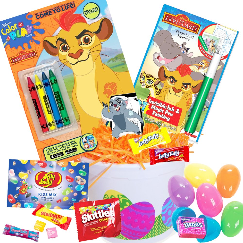 amazoncom lion guard easter basket 17 pc kit easter eggs easter candy lion guard coloring book jelly belly jelly beans lion guard lion king invisible