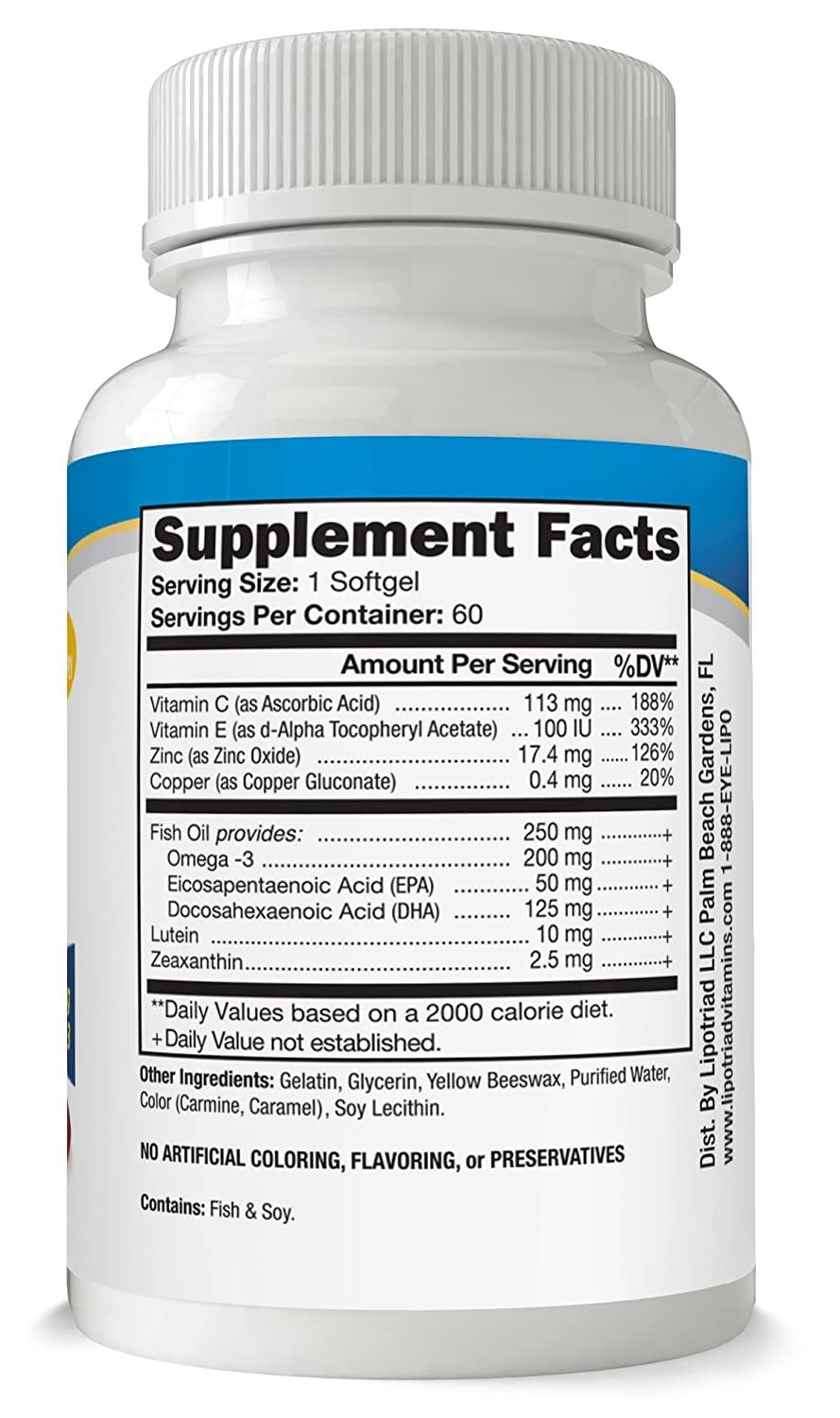 Amazon.com: Lipotriad Adult 50+ Eye Vitamin and Mineral Supplement w/10mg  Lutein, Zeaxanthin, Omega 3, Vitamin C, E, Zinc Copper, 1 Per Day, 2mo  Supply, ...