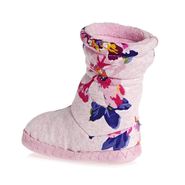 M M Toddler//Little Kid Pink Marl Granny Floral SM 8-10 Toddler Joules Kids Baby Girls Fleece Lined Slippersock
