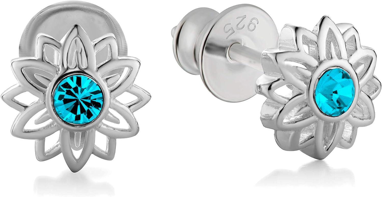 butterfly Niña Plata 925 Flor Original de Swarovski Elements Satén los Bolsos Joyas Regalo Para
