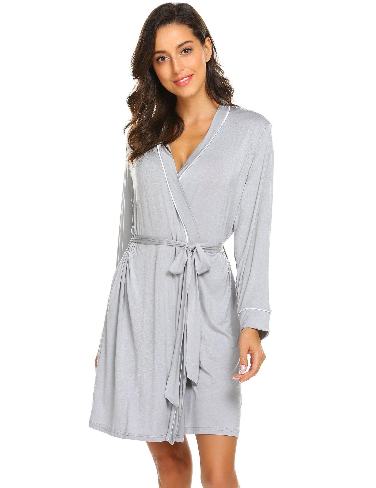 Avidlove Womens Robe Kimono Knit Cotton Light Short Bridesmaids Spa Bathrobe