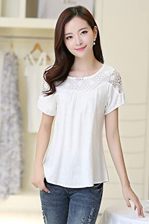 Women Short Sleeves Lace Shirt and Blouse White (LARGE, WHITE)