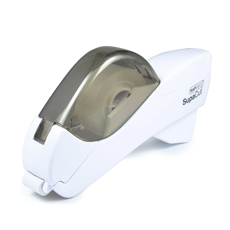 Rapesco Dispenser per Nastro SupaCut, con 2 rotoli di nastro adesivo. Colore: Bianco 1445