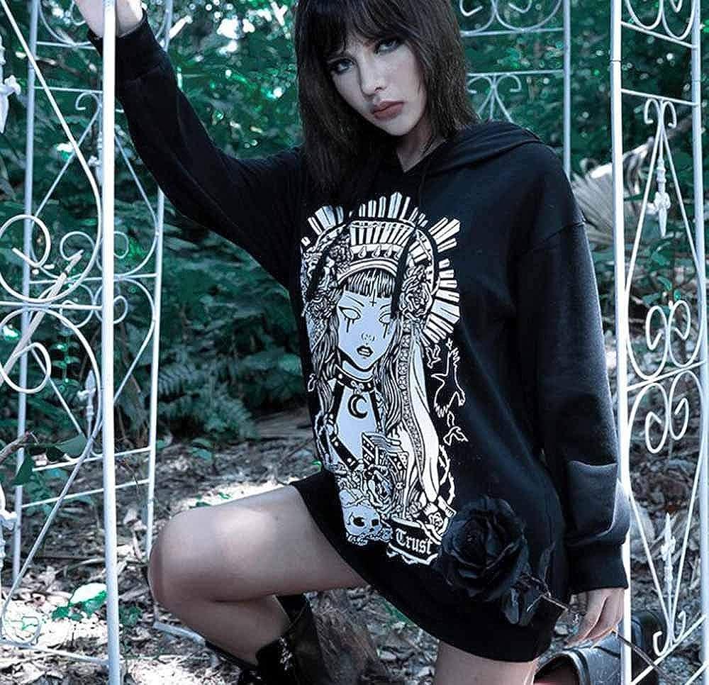 Stampa Teschio Manica Lunga Punk Halloween Bones Felpe Scure Top Felpe Hibasing Felpa con Cappuccio Lunga da Donna Gotica