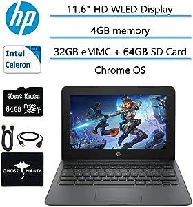 "2020 Newest HP Chromebook 11.6"" HD Laptop for Business and Student, Intel Celeron N3350, 4GB RAM, 32GB eMMC Flash Memory, Webcam, USB-C, WiFi , Bluetooth, Chrome OS, w/64GB SD Card, GM Accessories"