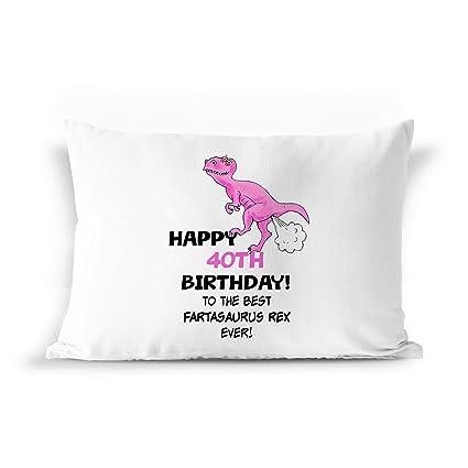 40th birthday dinosaur gift pillowcase pil5 funny farting t rex gag fart present