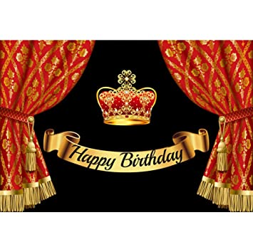 Cassisy 3x2m Vinilo Cumpleaños Telon de Fondo Feliz cumpleaños Bandera de Oro Vendimia Cortina roja Corona Fondos para Fotografia Party bebé Infantil ...