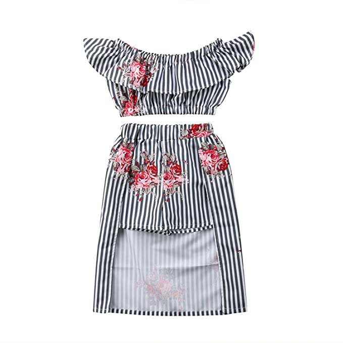 345ba1d5f2 WIFORNT Toddler Girl Stripe Off Shoulder Floral Crop Top + Skirt Shorts Set  Outfits: Amazon.ca: Clothing & Accessories