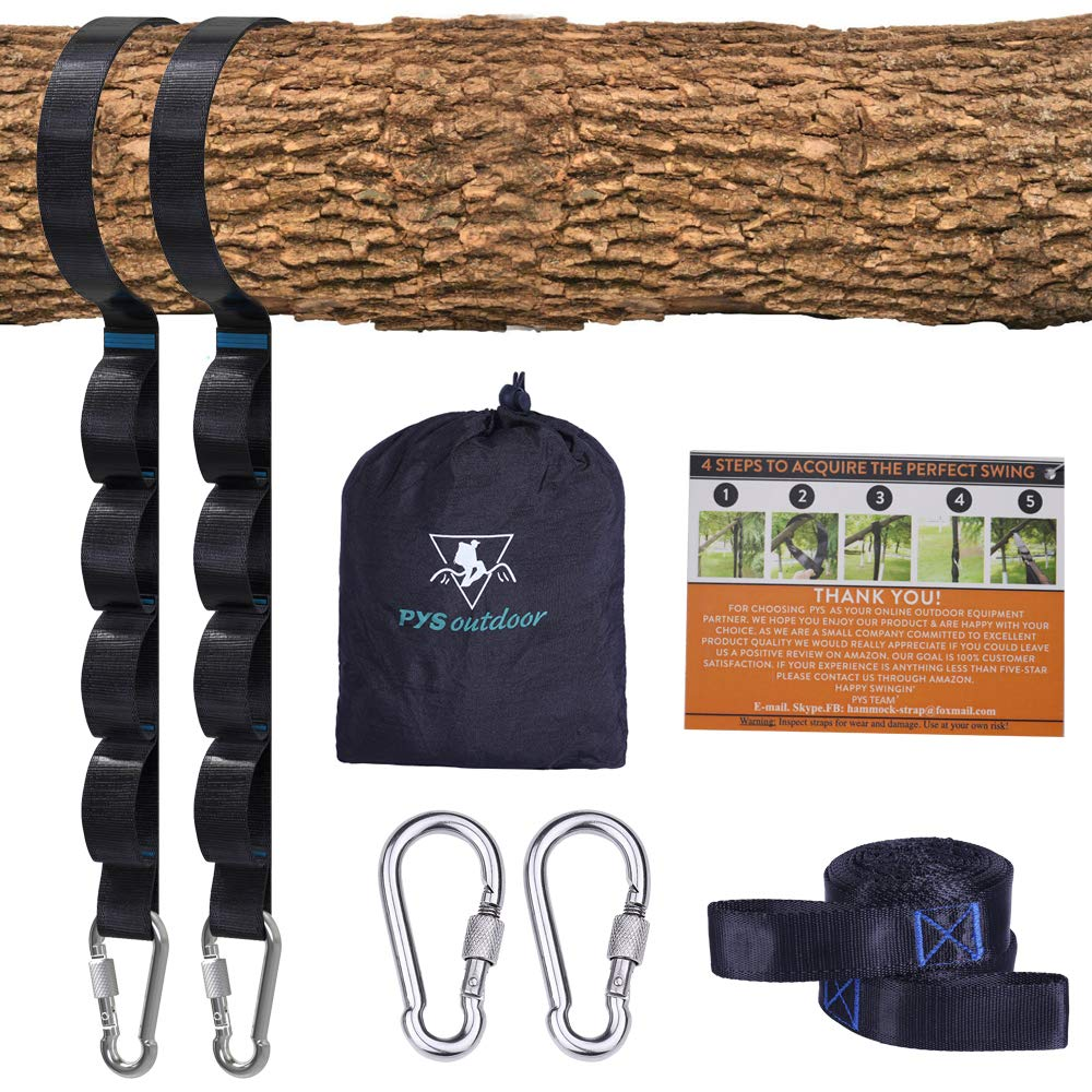 Tree Swing Straps Kit-Two Adjustable (20loops Total) Straps Hold 2000lbs Two Heavy Duty Carabiners (Stainless Stell),Easy & Fast Swing Hanger Installation to Tree, 100% Non-Stretch (Black, 5FT) by pys