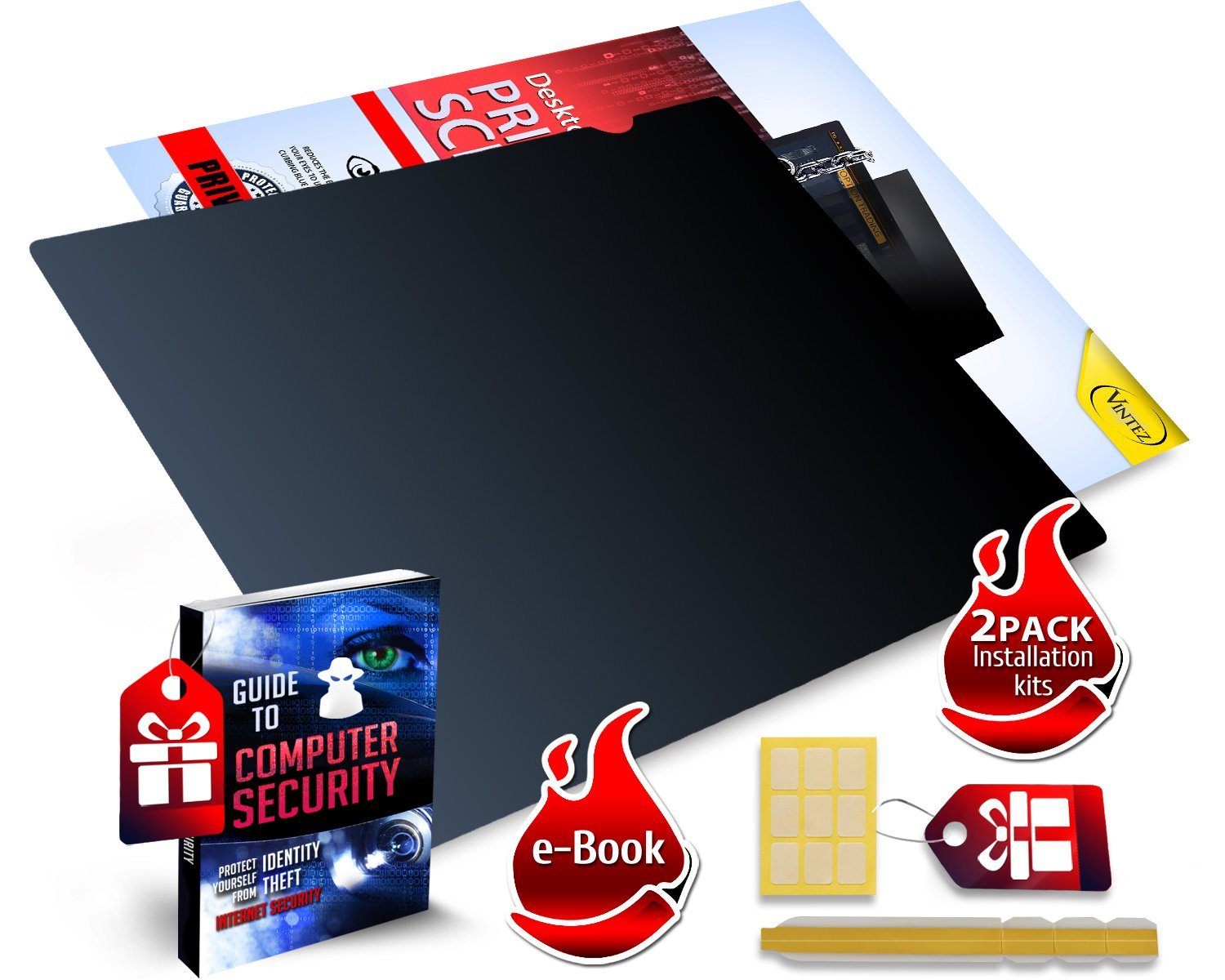 19 Inch - 5:4 Aspect Ratio Computer Privacy Screen Filter for Square Computer Monitor - Anti-Glare - Anti-Scratch Protector Film for Data Confidentiality - Please Measure Carefully! by VINTEZ (Image #3)
