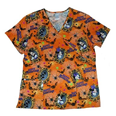 disney womens orange mickey minnie mouse halloween scrubs top medical smock