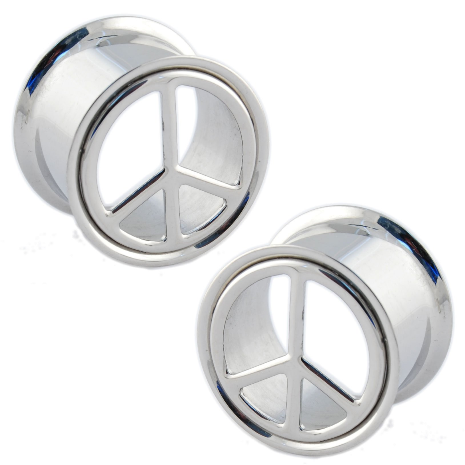 Pair of Stainless Steel Double Flared Peace Sign Eyelets: 0g