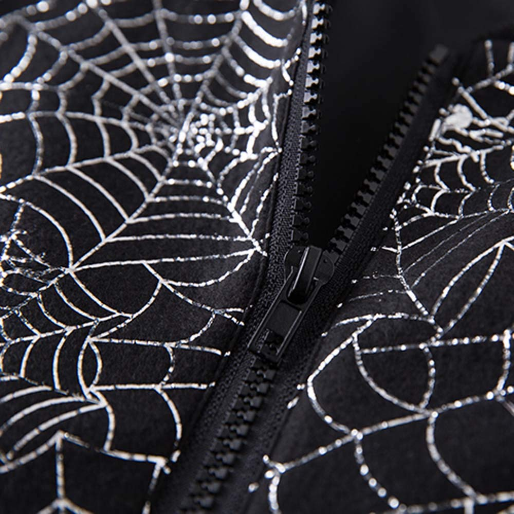 Mens Spider Web Casual Long Sleeve Hot Stamping Stand Zipper Bomber Jacket