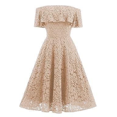 201fe8244fb OHQ Robe en Dentelle Party Retro Swing Dress Jupes pour Femme Beige-f S
