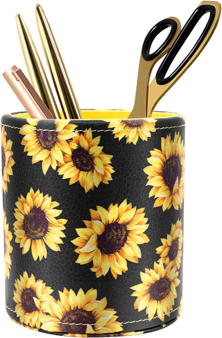 WAVEYU Pen Holder, Pencil Cup Desk for Women Girls, Luxury Makeup Brush Holder Large Pu Leather Multi-Functional Organizer Cup, Gift for Office, Classroom, Home, Sunflower
