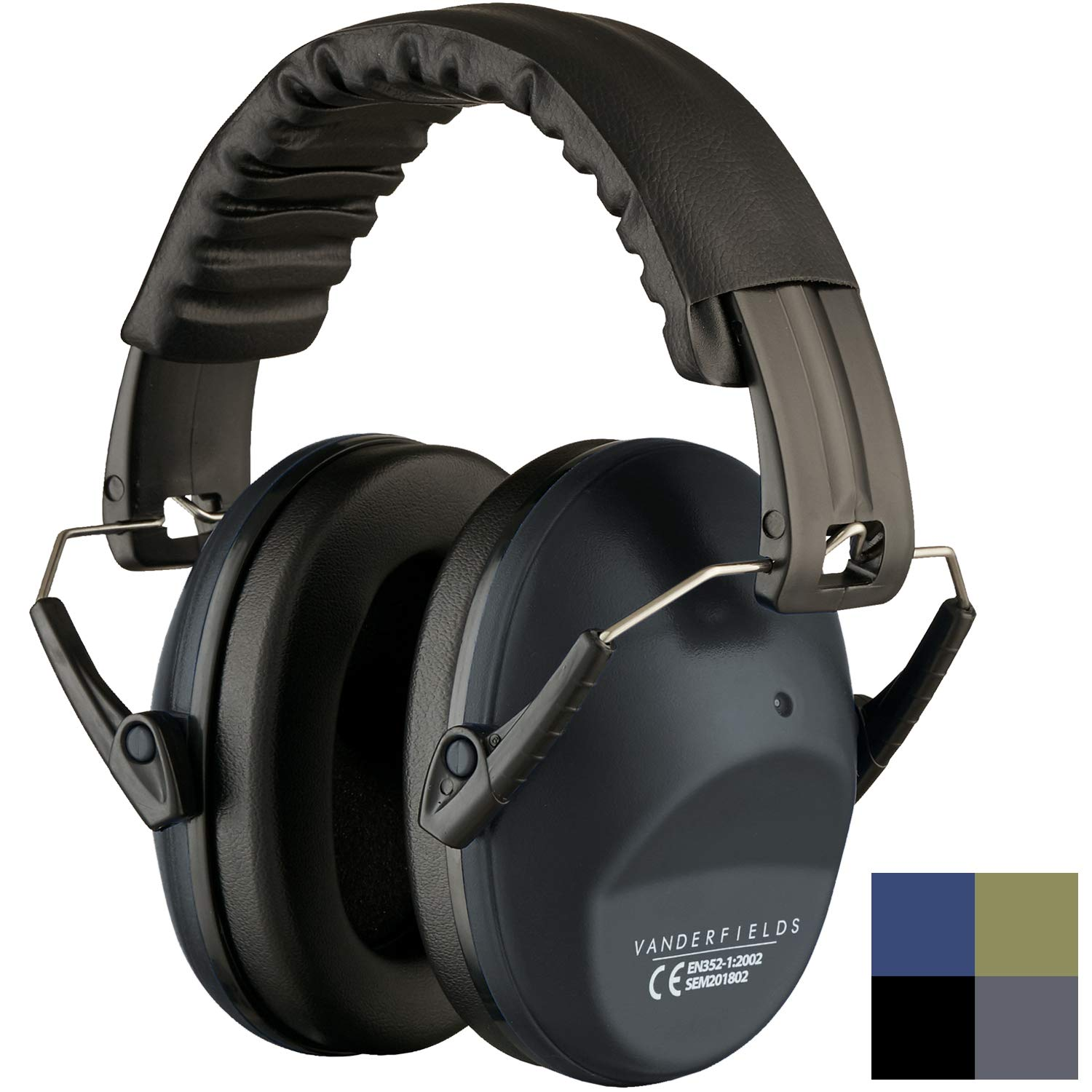 Ear Protection for Shooting - Compact Foldable Portable Hearing Protection Safety Earmuffs for Blocking Sound Reduction - Perfect for Hunting Range Studying Lawn Mowing - Men Women Adults Iron Gray by Vanderfields