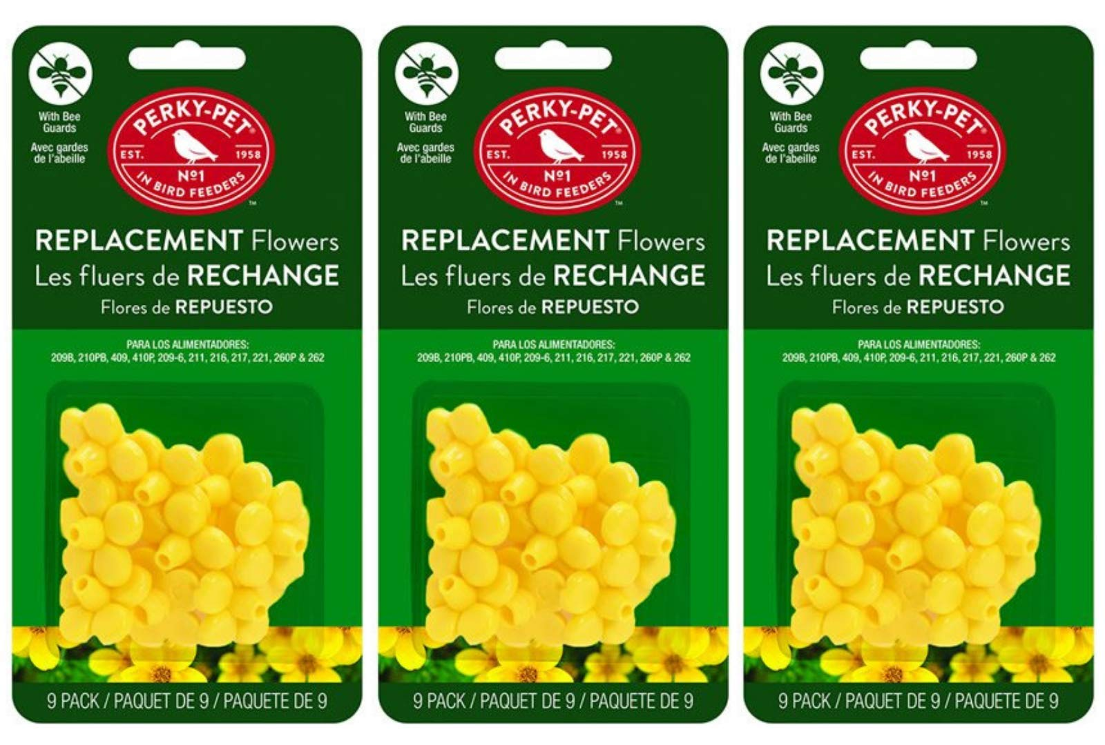 Perky-Pet 202FB 9 Piece Yellow Hummingbird Feeder Replacement Flowers (Pack of 3) by Perky-Pet