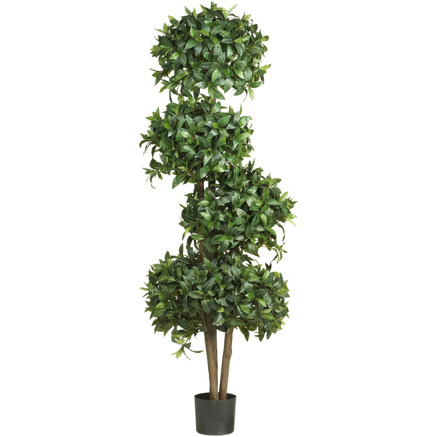 Nearly Natural 5244 Sweet Bay Topiary with Silk Tree, 69-Inch, Green