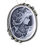 Light Gray Cameo Pendant Necklace Charm Fashion Jewelry for Women