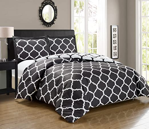 All Sizes /& Colors, 3pc Luxury Soft 1500 Thread Count Egyptian Quality Geo Quatrefoil Trellis Lattice Duvet Cover Set Full// Queen, Black
