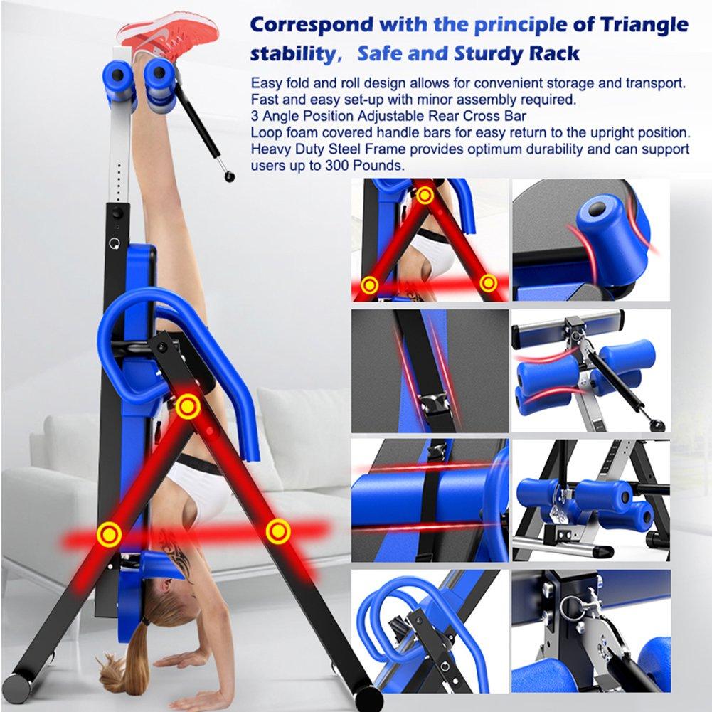 Yoleo Gravity Heavy Duty Inversion Table with Adjustable Headrest & Protective Belt (Blue) by Yoleo (Image #2)