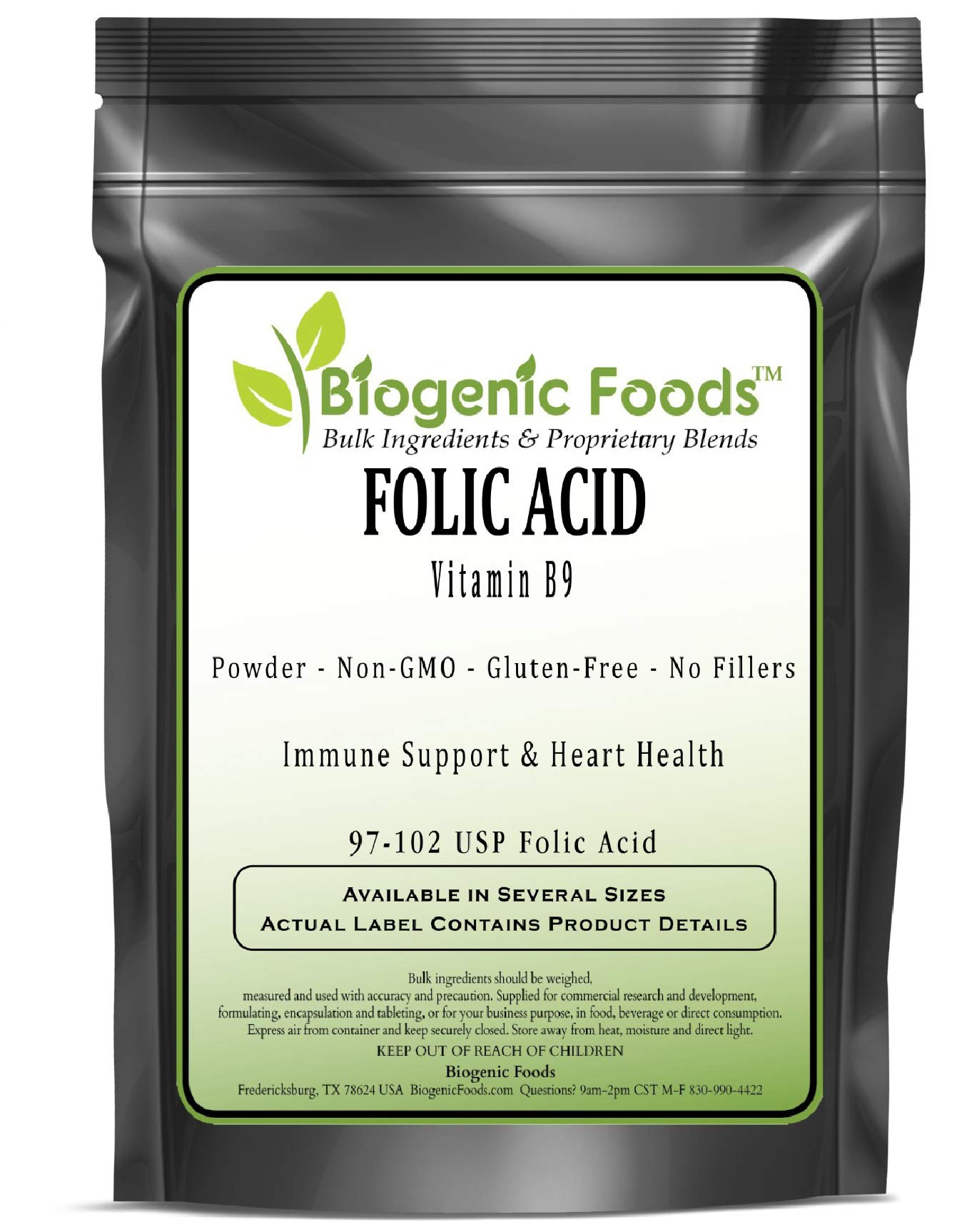 Folic Acid - Vitamin B9 Powder (97-102 USP Folic Acid), 2 kg