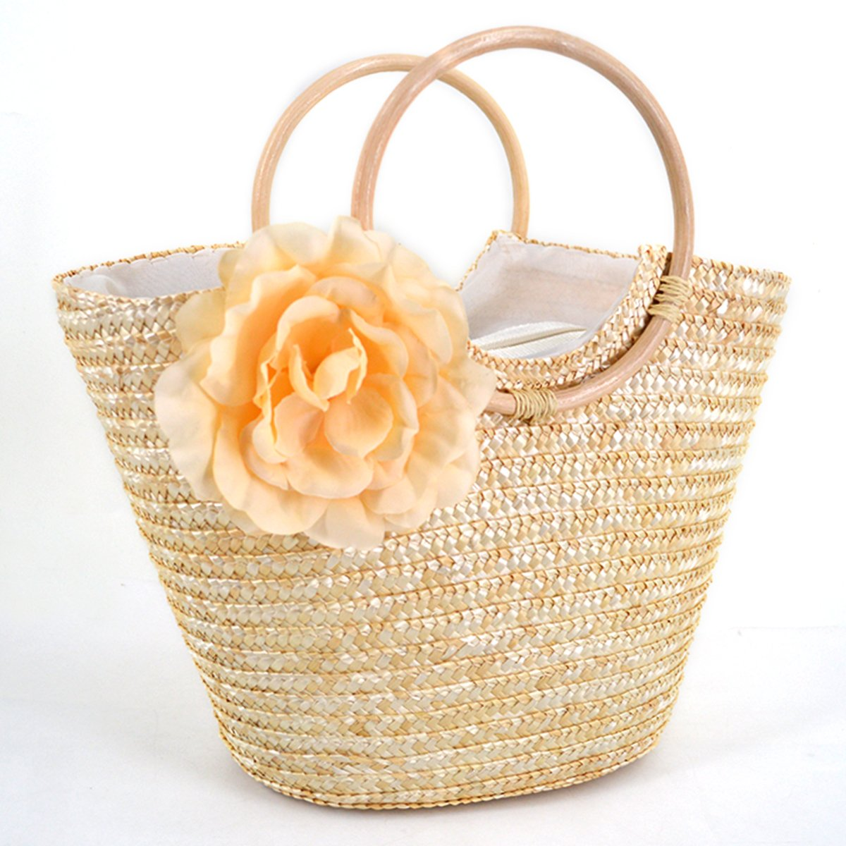 Mily Straw Woven Tote Bag Summer Holiday Beach Vacation Beaded Rosette Tote Handbag Beige