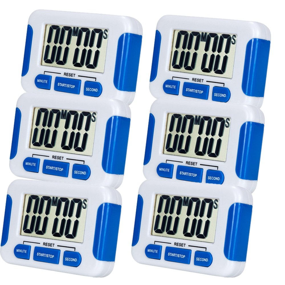 6 Pack Digital Kitchen Timer Magnetic Back and Retractable Stand Minute Second Count Up Countdown Kid Clock