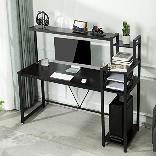 Sedeta Computer Desk with Storage Shelves, 59 inch Large Modern Office Desk, Study Desk Writing Table Workstation with Hutch,Bookshelf and CPU Stand for Home Office, Black