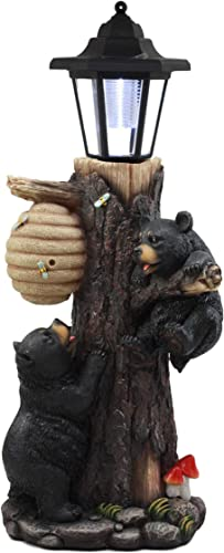 Ebros Large Climbing Black Bear Cubs Reaching for Honeycomb Beehive LED Path Lighter Statue 19 Tall with Solar Lantern Light Welcome Sign Guest Greeter Decor Figurine