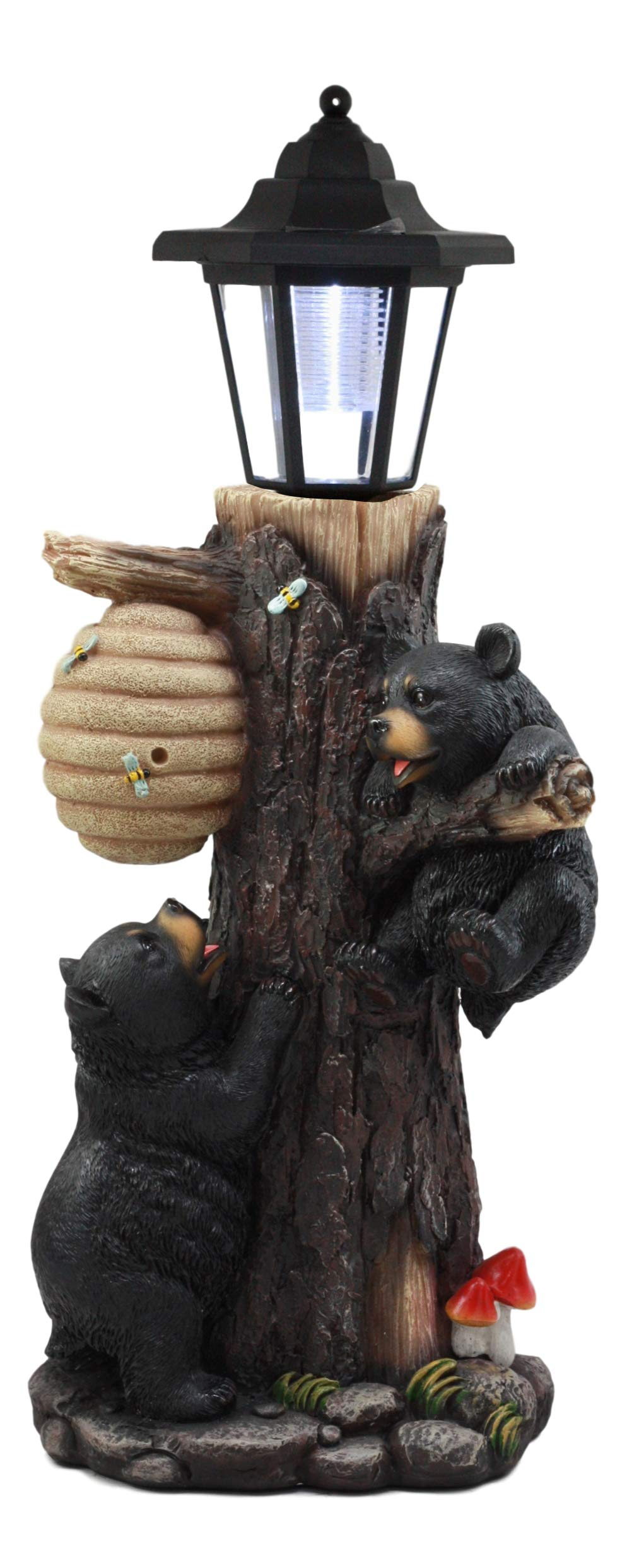 Ebros Large Climbing Black Bear Cubs Reaching for Honeycomb Beehive LED Path Lighter Statue 19''Tall with Solar Lantern Light Welcome Sign Guest Greeter Decor Figurine
