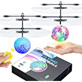 ZGWJ Flying Ball Toys,2 Pack LED RC Toy for Kids Boys Girls Gifts Rechargeable Light Up Ball Drone Infrared Induction Helicop
