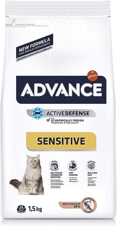 ADVANCE Sensitive - Pienso para Gatos Adultos con Salmón - 1,5Kg