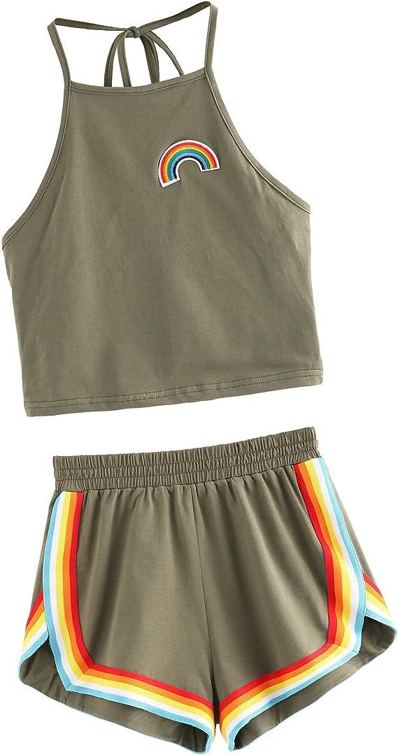 70s Workout Clothes | 80s Tracksuits, Running Shorts, Leotards SweatyRocks Womens 2 Piece Set Halter Crop Top and Shorts Set  AT vintagedancer.com