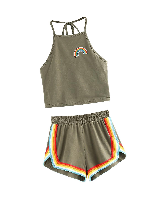 SweatyRocks Women's 2 Piece Set Halter Crop Top Shorts Set