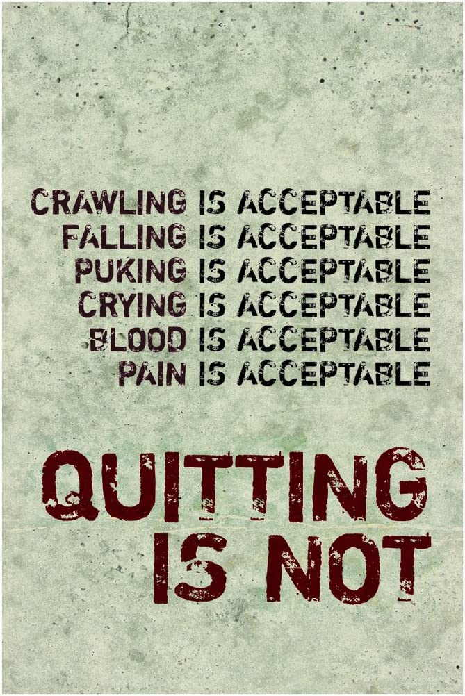 SJC Quitting is Not Acceptable Poster Wall Print|Inspirational Motivational Classroom Home Office Dorm|18 X 12 in|SJC86