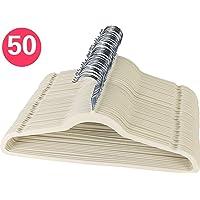 Kit 50 Cabides De Veludo Ultra Fino Antideslizante - Cores: Preto/Bege/Cinza