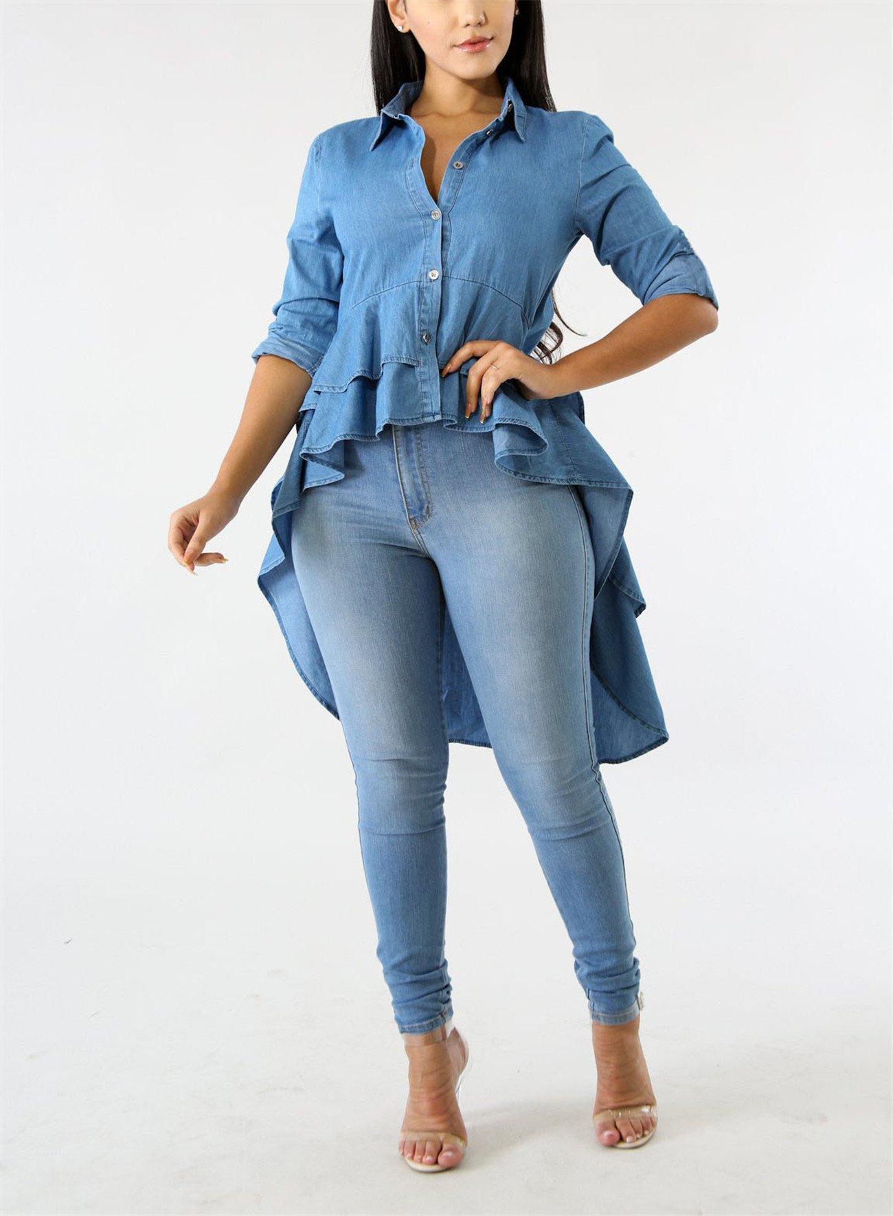 Fashion Cluster Womens Summer Long Sleeve Denim Blue Irregular High Low Hem Buttom Down Tunic Tops Blouse Boho Maxi Polo Shirt Dress XXL by Fashion Cluster (Image #6)