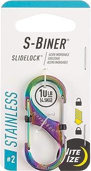 Nite Ize LSB2-07-R3 S-Biner SlideLock Stainless Steel Dual Locking Carabiner, 2, Spectrum