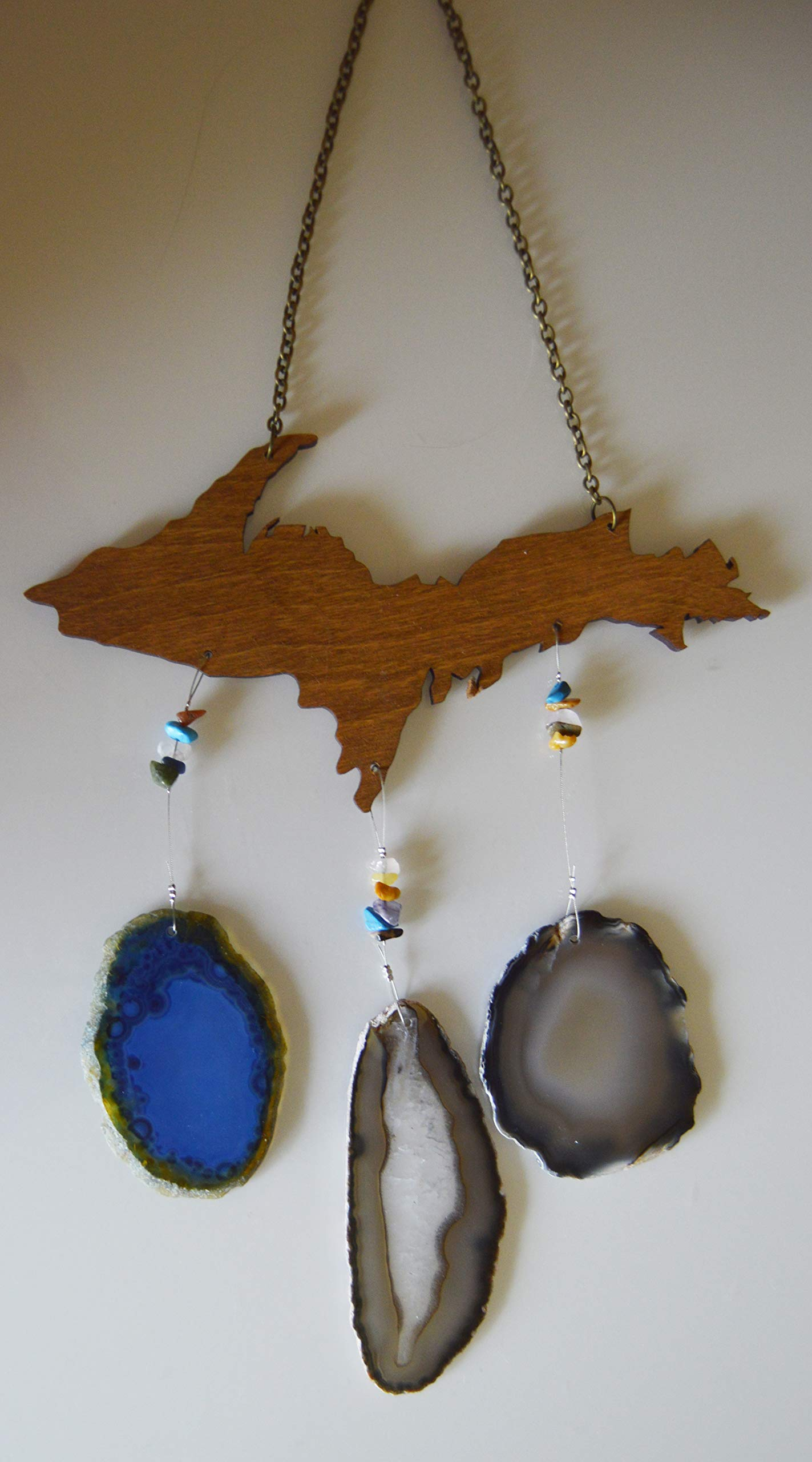 wind chime Blue and Gray Agate slice geode windchime Michigan Upper peninsula U P wood stone sun catcher wind chime mobile window decor hanging by Riverstone Gallery (Image #1)
