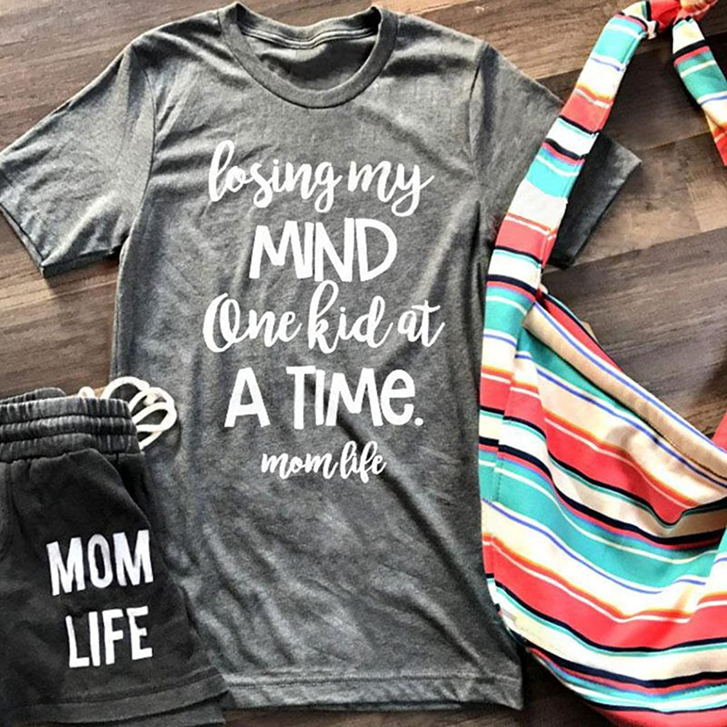 5f5dd4d66dba8 Amazon.com: Women Casual Letters Print T-Shirt Short Sleeve Losing My Mind Mom  Life Tops Tee: Clothing