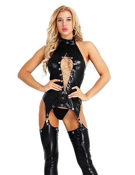 CHICTRY Body de Cuero Abierto Mujer Sexy Conjunto de Lencería Disfraz Erotica Tanga Entrepierna Abierta con Ligas Babydoll Pijamas Bodysuit Clubwear ...