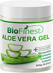 Biofinest Aloe Vera Gel - Absorb Fast/ No Sticky Residue - Pure Moisturizer For Sun Burn/ Eczema/ Insect Bites/ Dry Damaged Aging skin (250g)