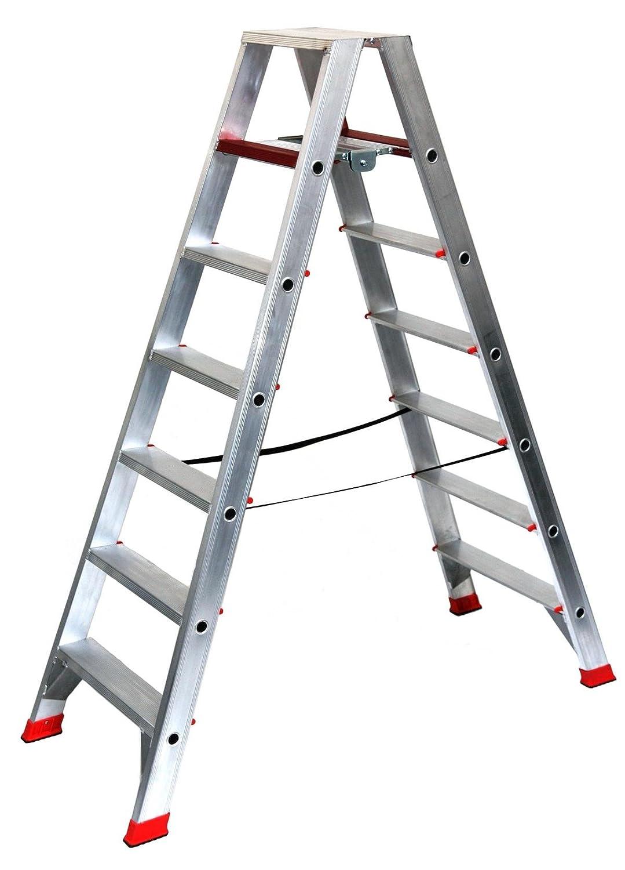 Alu-Profi-Doppelleiter 2x3 Stufen//Sprossen Aluminium Stehleiter, Anlegeleiter, Aluleiter, Kombileiter, Leiter Marke: Szagato 86x50x23cm