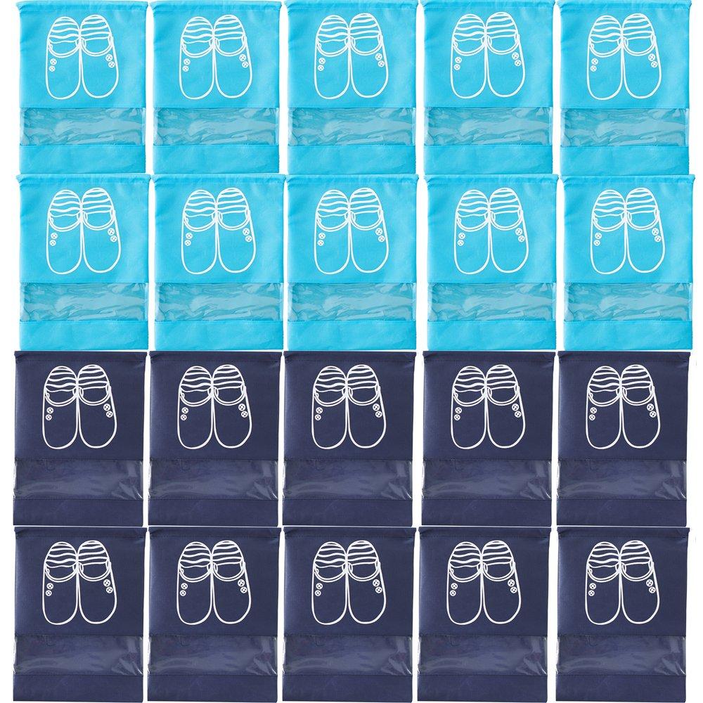 20PCS Household Travel Dust-proof Shoe Bags Drawstring Transparent Window Space Saving Storage Bags