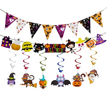 halloween party decorationpre assembledcute halloween banner triangle banner flag with foil