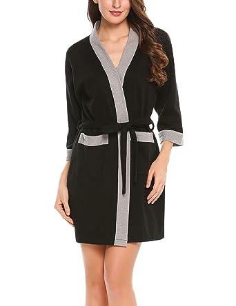 DonKap Womens Turkish Cotton Waffle Kimono Short Robe Black L