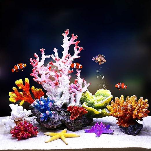 Fish Tank Aquarium Decoration 6.69 X6.89 Color : Green HQQ 1Pc Polyresin Coral Ornaments
