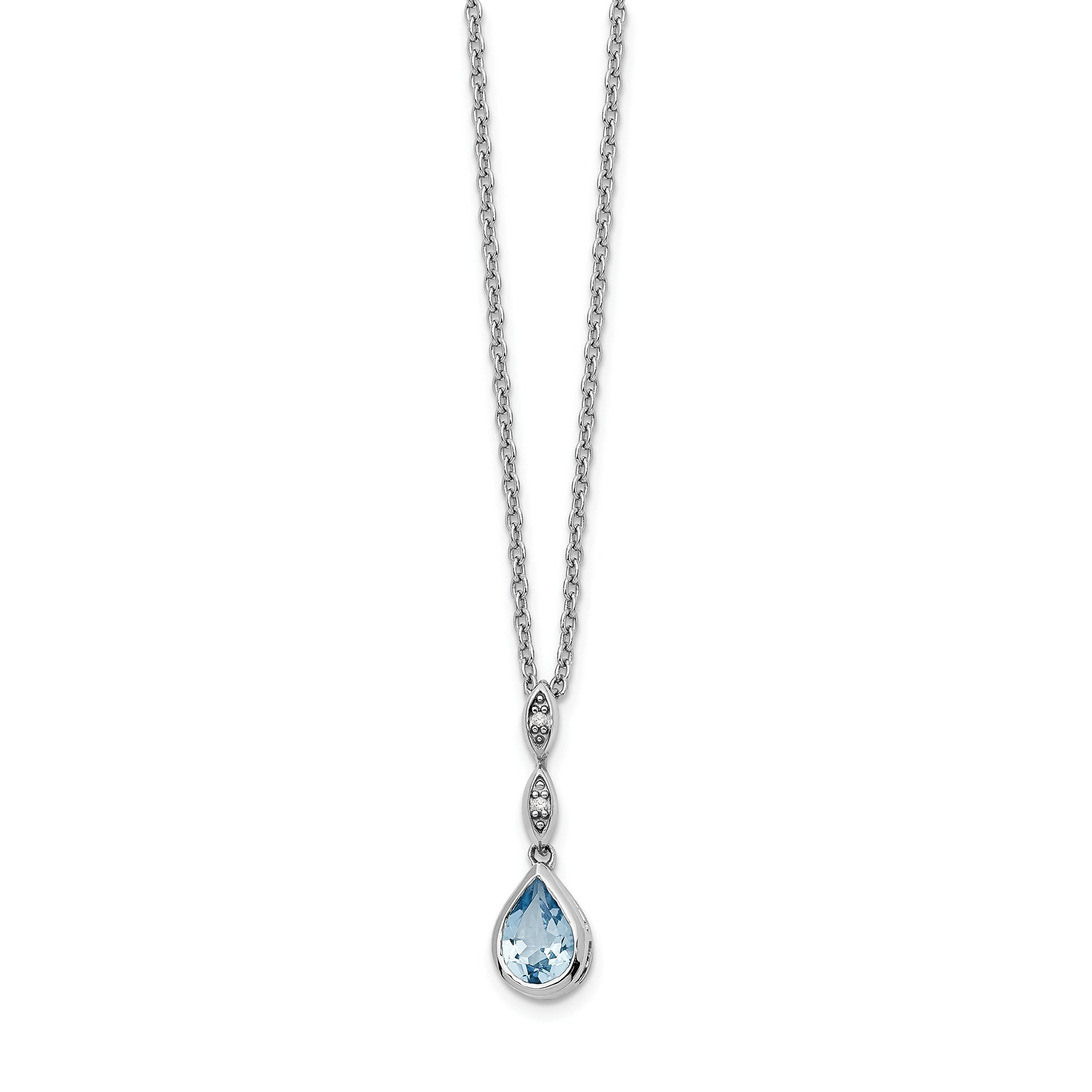 ICE CARATS 925 Sterling Silver Blue Topaz .01 Ct Diamond Chain Necklace Gemstone Fine Jewelry Gift Set For Women Heart