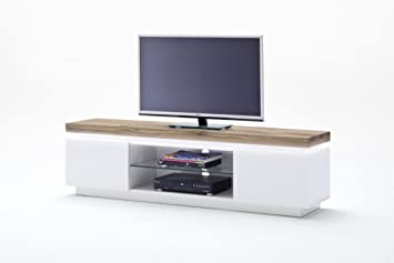 Lowboard holz weiß  Lowboard Romina MCA Eiche massiv Weiss LED Braun Weiß Holz: Amazon ...